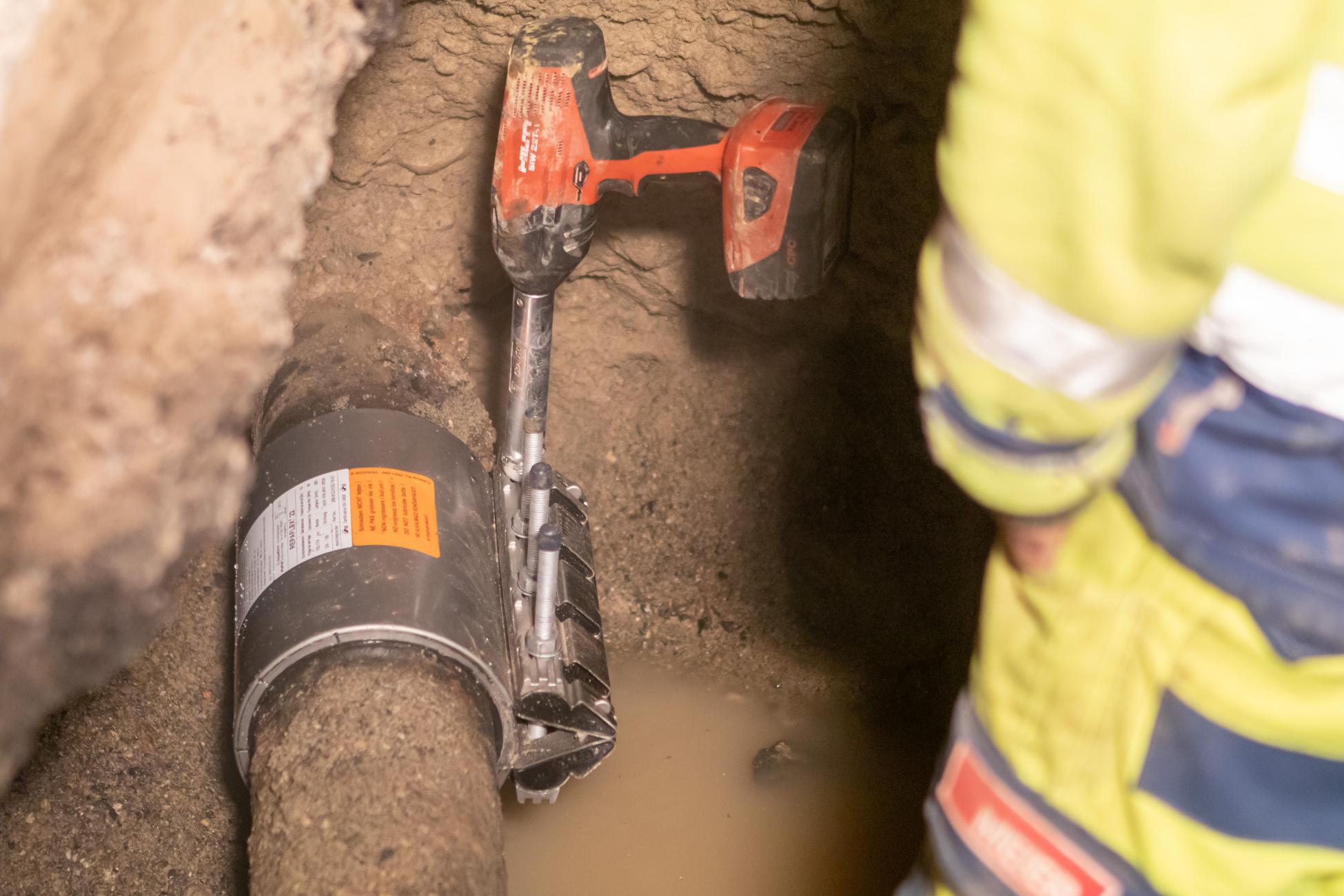 Mellingen Hauptgasse Wasserrohrbruch Reparaturkupplung