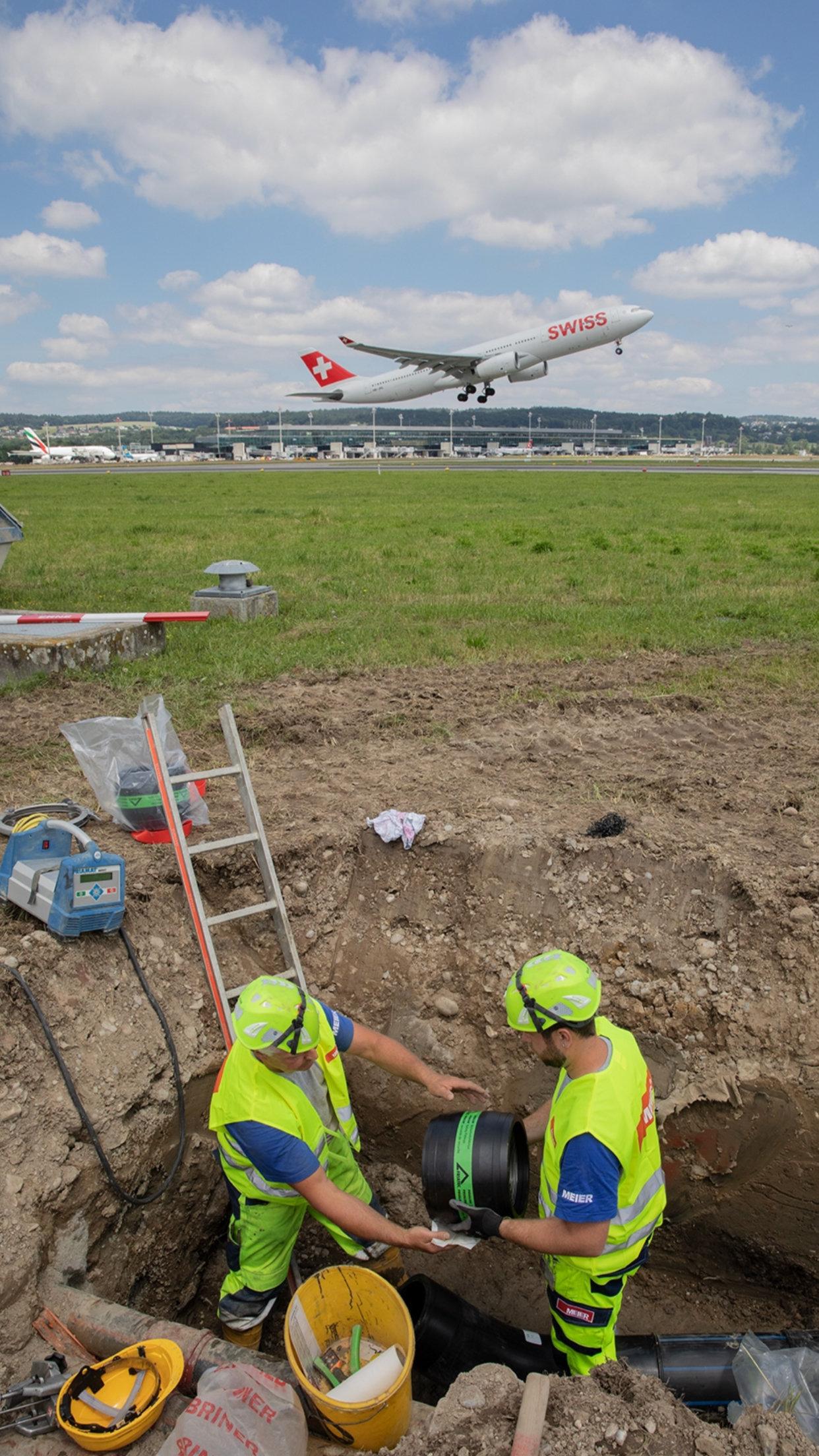 Zuerich Flughafen Rohrleitungsbau